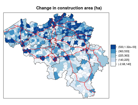 Change in construction area (in hectares) in Belgium between 1983 and 2015